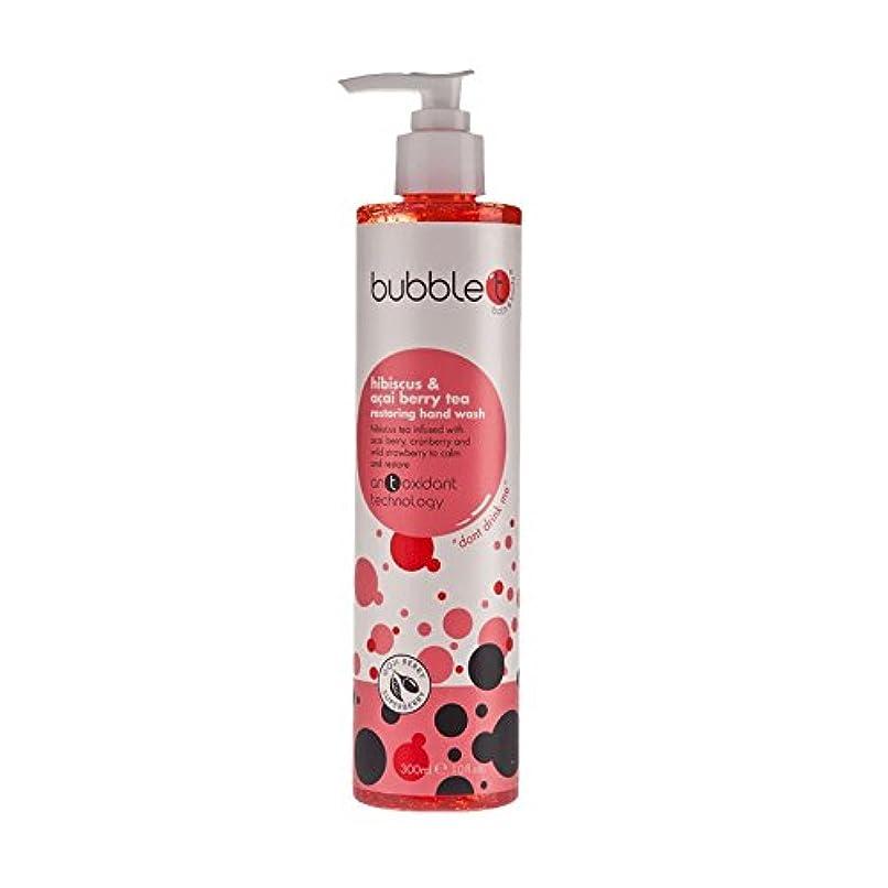尽きるマスク発表するBubble T Restoring Hand Wash Hisbiscus & Acai Berry Tea 300ml (Pack of 6) - バブルトン手洗いHisbiscus&アサイベリー茶300ミリリットルを復元 (x6) [並行輸入品]