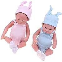 D DOLITY リアル 26cmのリボーンドール 赤ちゃん人形 ロンパース 帽子スーツ 全2個