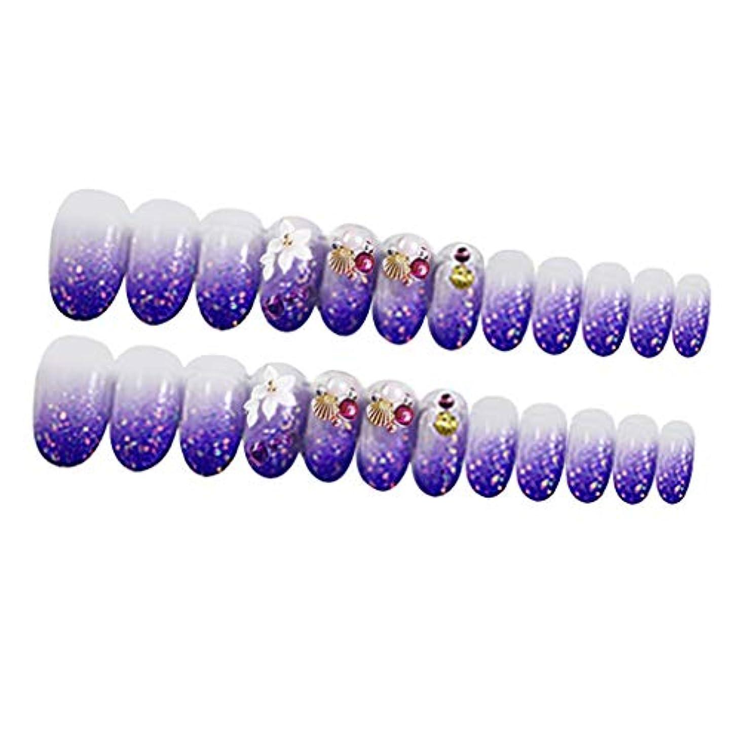 返還事実寸前ネイルチップ ネイルヒント ネイルデコレーション 12サイズ 24個セット 2色オプション - 紫の