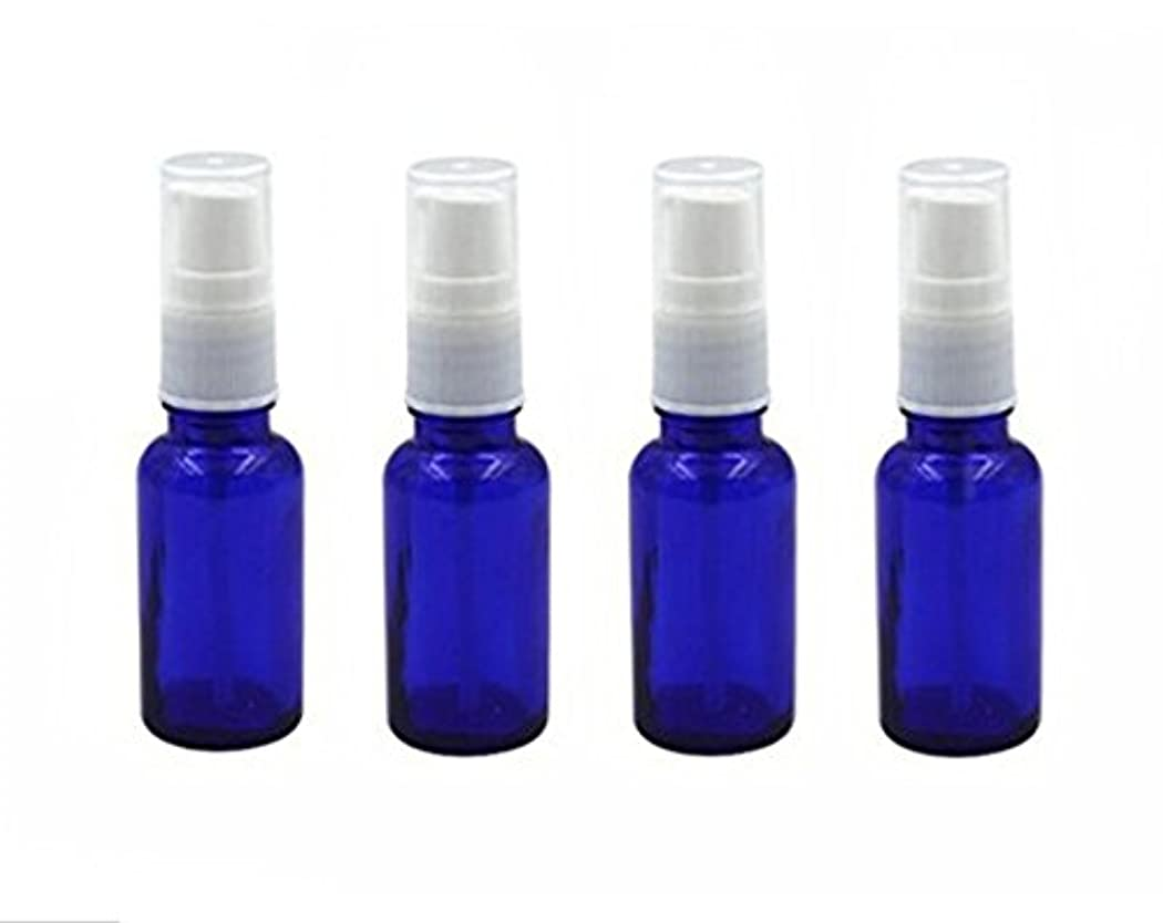 クレーン仕事ポーク4個10 ml / 20ml再利用可能な空ガラスポンプボトル/ホワイトプラスチックキャップ付き容器 – エッセンシャルオイルの化粧品メーキャップディスペンサーシャンプーサンプルボトル押し (20 ML, ブルー)