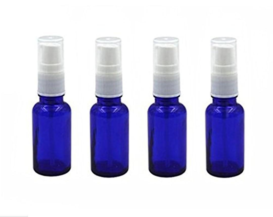 劇的テザーテクスチャー4個10 ml / 20ml再利用可能な空ガラスポンプボトル/ホワイトプラスチックキャップ付き容器 – エッセンシャルオイルの化粧品メーキャップディスペンサーシャンプーサンプルボトル押し (20 ML, ブルー)