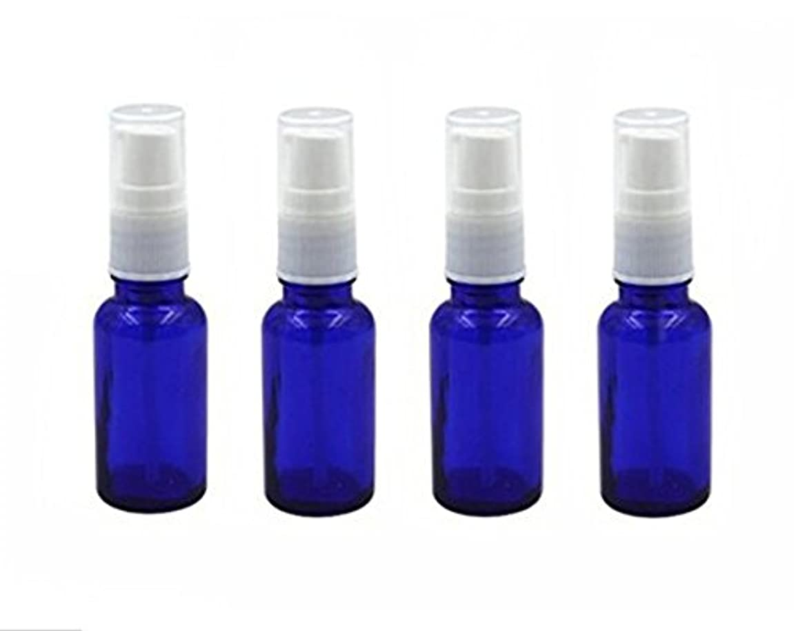 4個10 ml / 20ml再利用可能な空ガラスポンプボトル/ホワイトプラスチックキャップ付き容器 – エッセンシャルオイルの化粧品メーキャップディスペンサーシャンプーサンプルボトル押し (20 ML, ブルー)