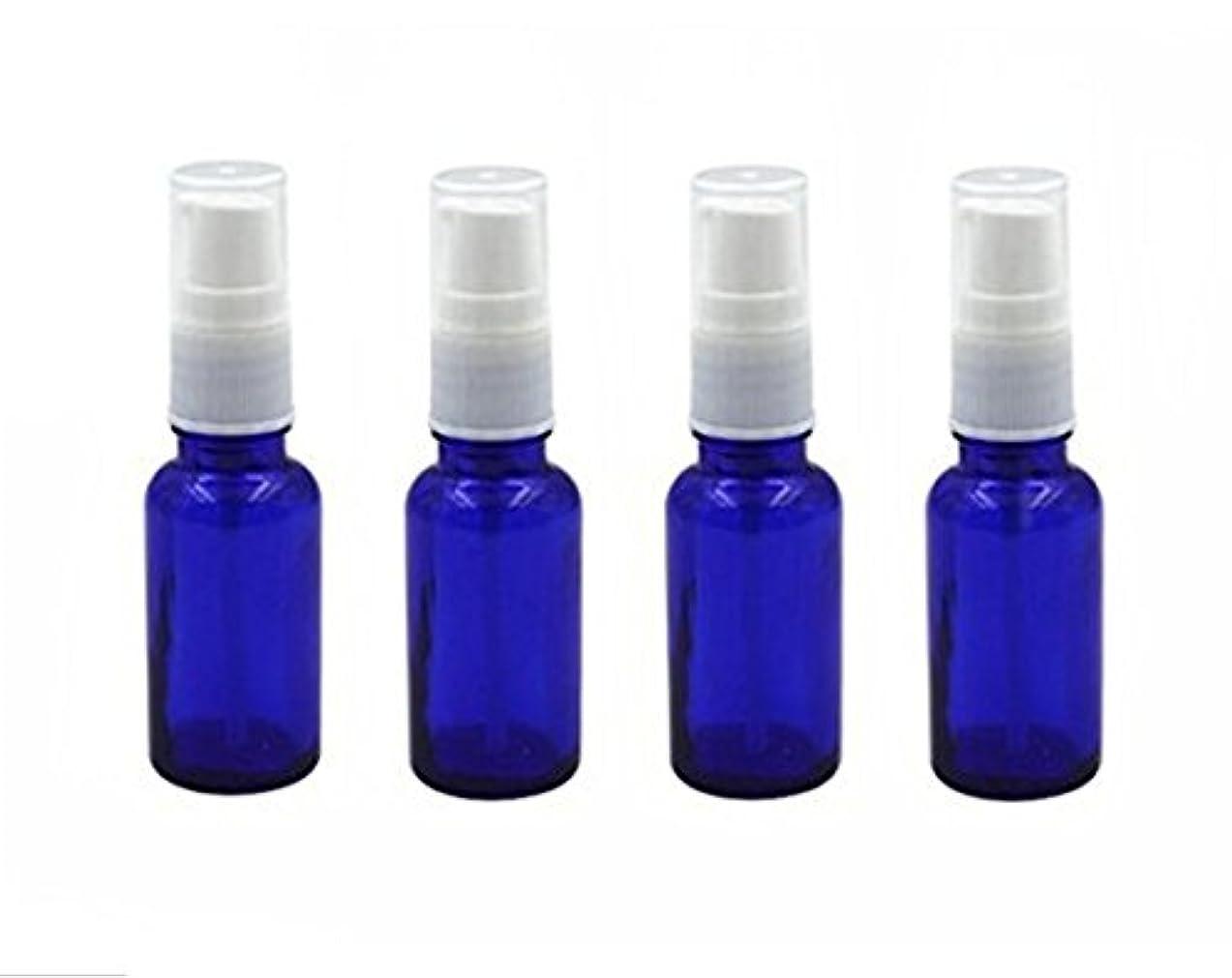 ほうき忠実な母性4個10 ml / 20ml再利用可能な空ガラスポンプボトル/ホワイトプラスチックキャップ付き容器 – エッセンシャルオイルの化粧品メーキャップディスペンサーシャンプーサンプルボトル押し (10 ML, ブルー)