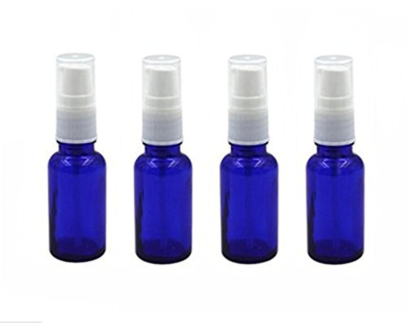 セージ遠征ドック4個10 ml / 20ml再利用可能な空ガラスポンプボトル/ホワイトプラスチックキャップ付き容器 – エッセンシャルオイルの化粧品メーキャップディスペンサーシャンプーサンプルボトル押し (10 ML, ブルー)