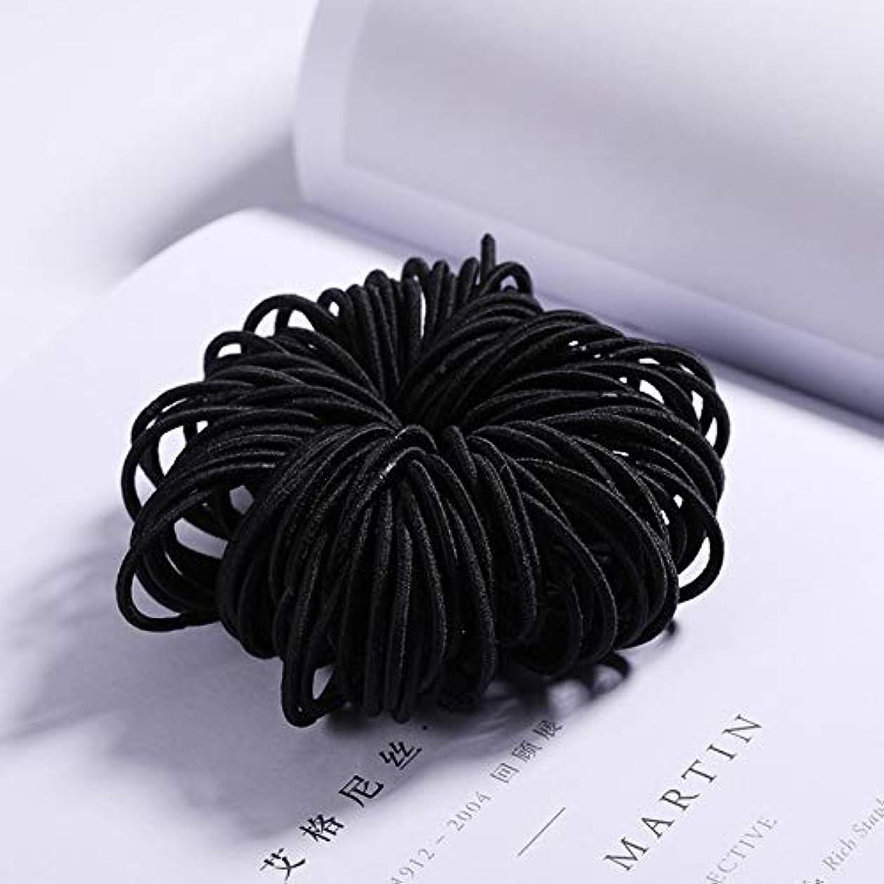 しおれたアプト苦味フラワーヘアピンFlowerHairpin YHMキャンディーカラーのナイロンゴムバンド子供用の安全な弾性ヘアバンド(ブラック) (色 : Black)