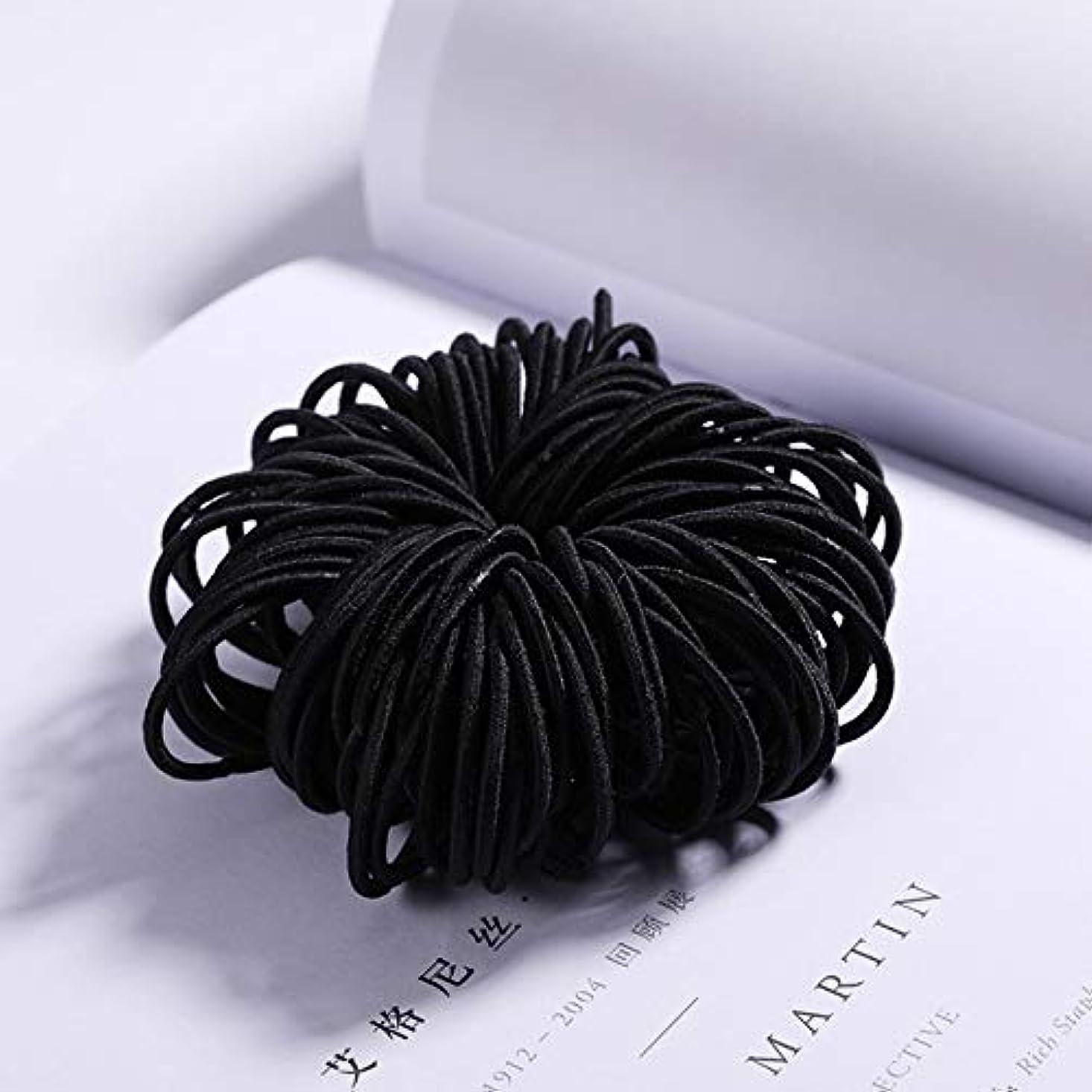 みがきます人事粘着性フラワーヘアピンFlowerHairpin YHMキャンディーカラーのナイロンゴムバンド子供用の安全な弾性ヘアバンド(ブラック) (色 : Black)
