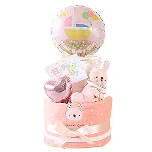 ベビーアルテ アナノカフェ うさちゃん くまちゃん 2段 おむつケーキ 【おむつ:パンパースSサイズ】うさちゃんピンク