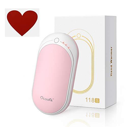 電気カイロ OCOOPA 1台2役 usbかいろ モバイルバッテリー 5200mAh大容量 両面発熱 寒さ対策 関節炎対策 腰痛対策 ヘルニア対策 彼女へ最適なギフト ピンク