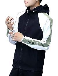 gawaga メンズカラーブロックロングスリーブジップアップライトパーカージャケットコート