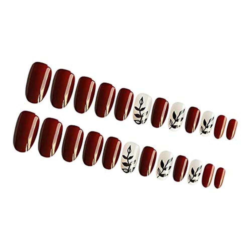 多分納税者ポジティブInjoyo つけ爪 付け爪 ネイルチップ 人工爪 ネイルステッカー 永続的 防水 ABS材料 約24個入り 全4カラー - 01