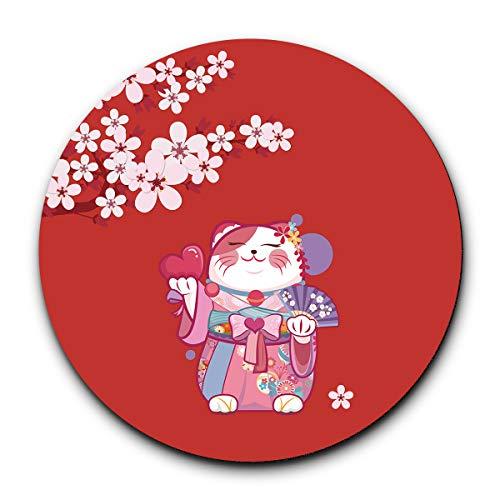 Soexyaper マウスパッド 和風 可愛い 桜花 精巧 円形( 招き猫)