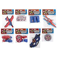PARTY FAVORS SUPER HERO 8 ASSORTED, SLINKY, PUZZLE BALL, AIRPLANE, WATCH GAME, HEADBAND, MINI SQUIRT GUN, MINI PADDLE BALLS AND MINI FRISBEE