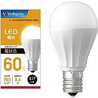 三菱ケミカルメディア Verbatim LED電球 E17 60W形相当 電球色 (広配光/定格寿命40000時間/密閉器具対応) LDA6L-E17-G/LCV2