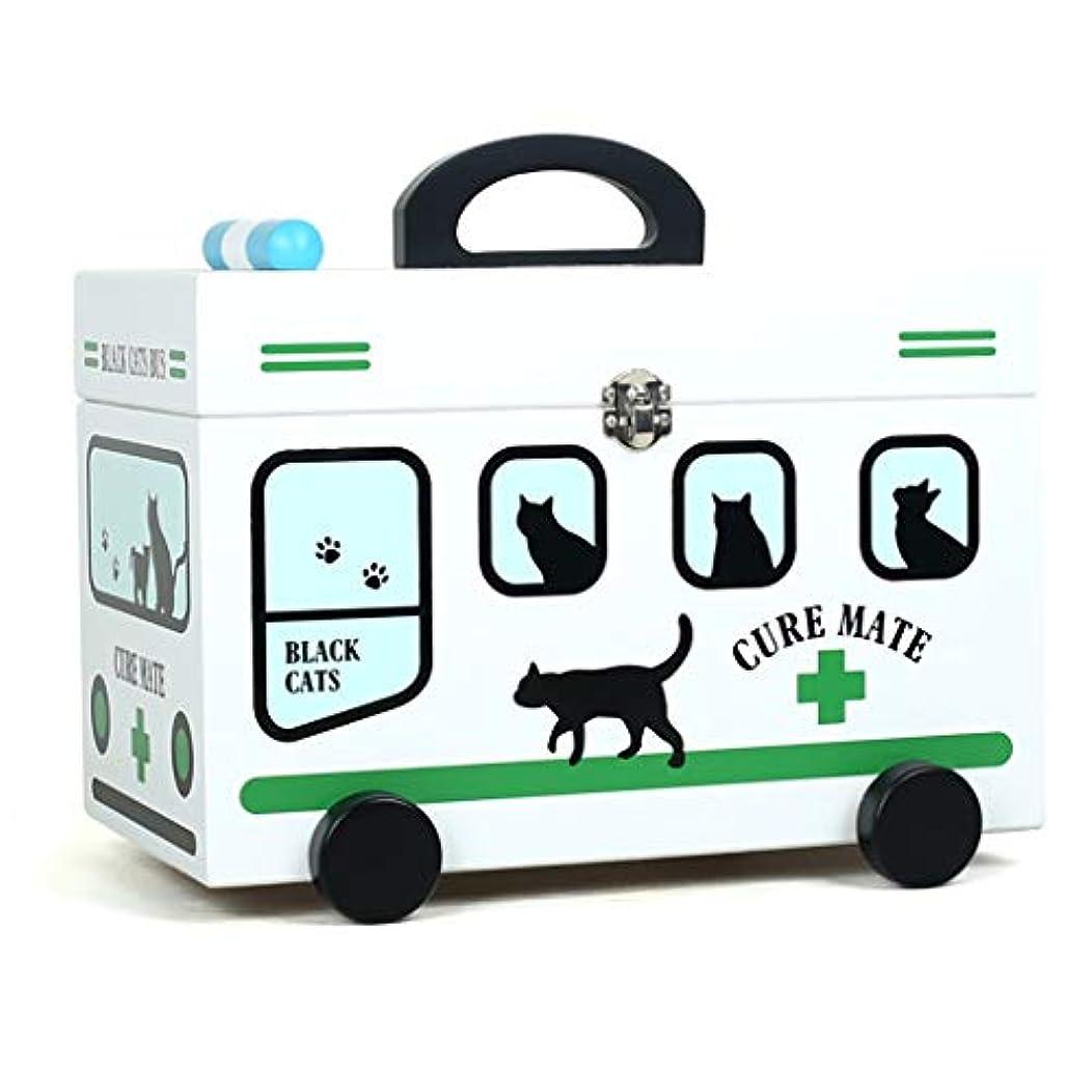 星温室ロボットKKYY 子供医療用二重層漫画家族薬箱、ロック付きポータブル大容量設計木製医療箱3色