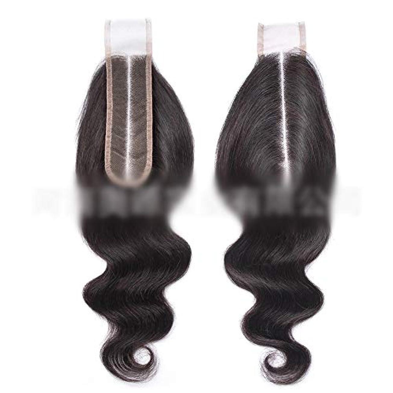 義務づける承認する昆虫HOHYLLYA ブラジルのバージン実体波の毛ブラジルの人間の髪の毛中央部2 x 6レース前頭閉鎖ロールプレイングかつら女性のかつら (色 : 黒, サイズ : 8 inch)