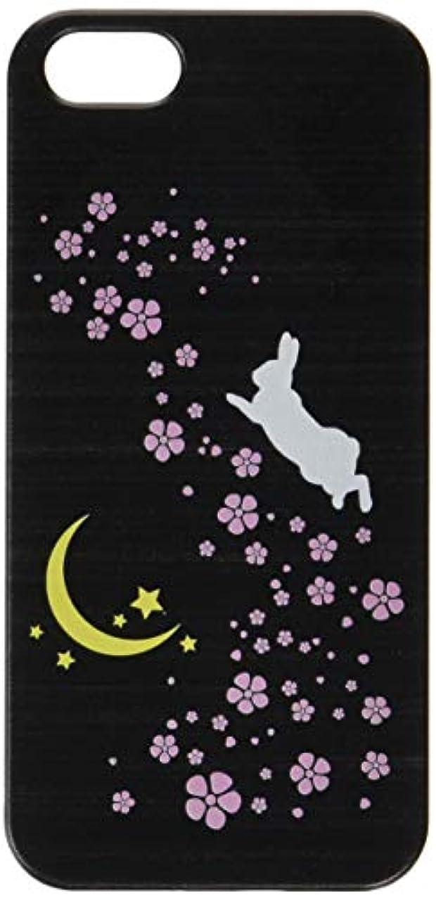 シェル純粋なチロotas iPhone5S/5用ケース?カバー ブラックベース うさぎ 桜を駆け巡るうさぎ ハードケース 888-31336