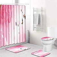 バレンタインデー4ピースポリエステルシャワーカーテンセットノンスリップラグカーペット用浴室トイレバスマットセット,4,180*180cm+45*75cm