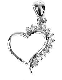 【ノーブランド 品】シルバー ハート形 925スターリングシルバー ラインストーン ネックレス ペンダント 宝石類のギフト