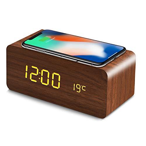 置き時計 QIワイヤレス充電機能 目覚まし時計 アラームクロック USB給電 android iphone 充電器 iPhone8以上対応 音声感知 Fomobest カレンダー付き 温度計 時間記憶 省エネ 明るさ調節 日本語説明書付き (ブラウン)