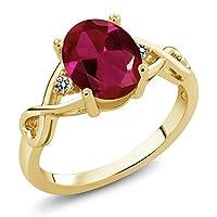 Gem Stone King 2.06カラット 合成ルビー 天然 ダイヤモンド シルバー925 イエローゴールドコーティング 指輪 リング