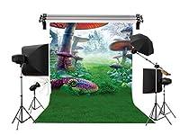 LB 背景布 1.5×2.1m/5x7ft 布地 写真撮影 布バック 背景シート 子供 誕生日撮影 人物/商品撮影 撮影スタジオ用 撮影小道具 アイロンかけ可 折り畳み可 洗濯可 森のキノコ柄 グリーン