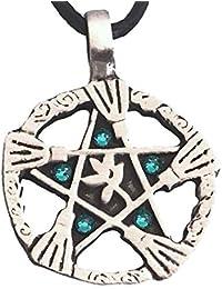 Pewter Witch Broom Pentagram Pendant on Leather w/5 Swarovski Crystal Teal Blue December Birthday