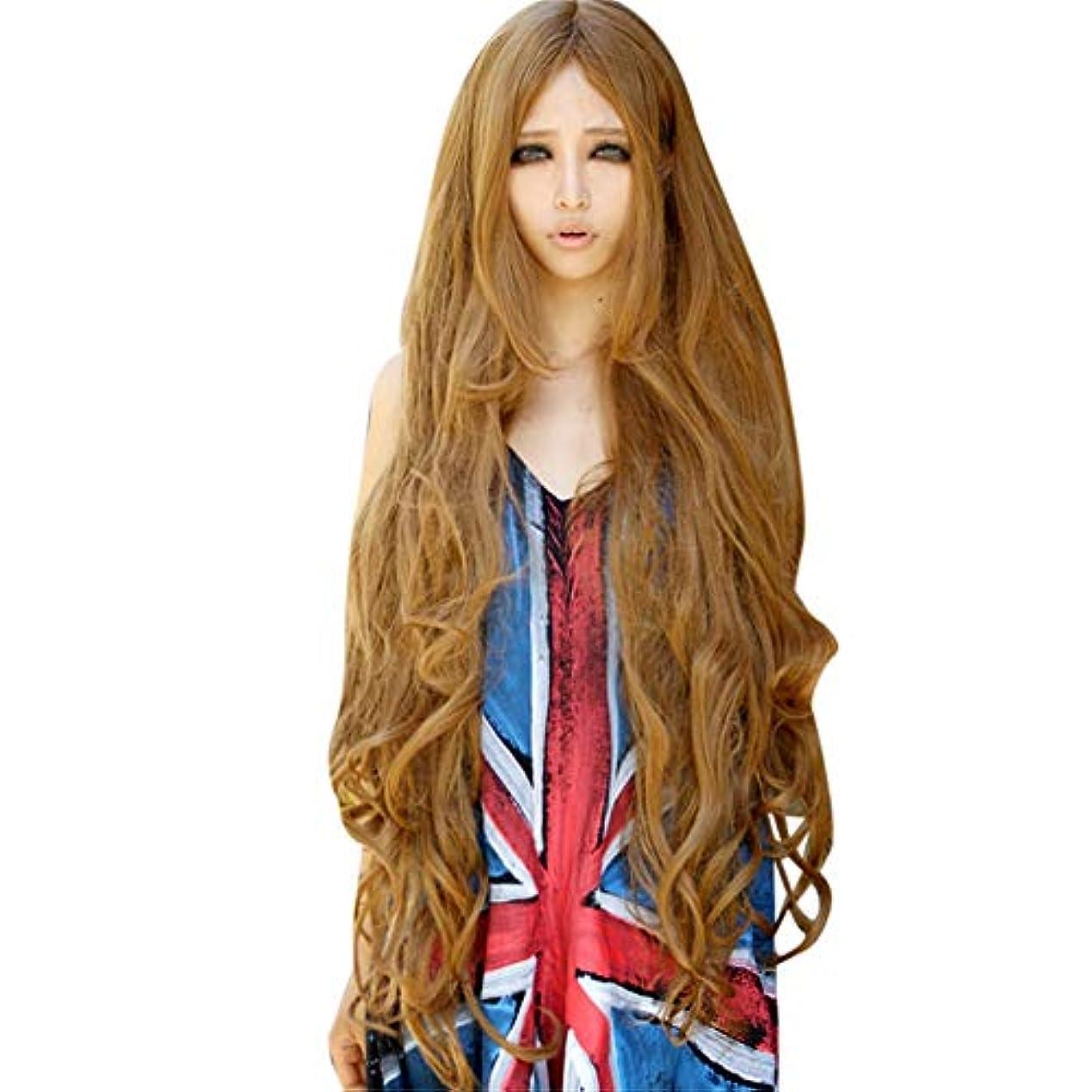 謙虚な滅びる東かつらゴールド長い巻き毛ナチュラルかつらファッションパーティーかつら100CM