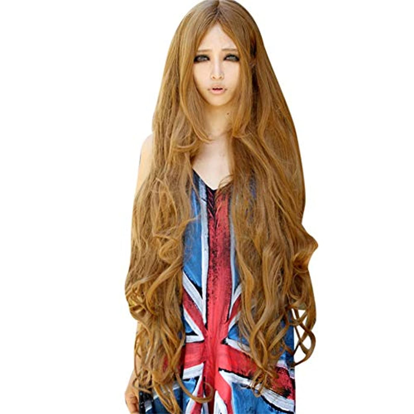検索しみ一流かつらゴールド長い巻き毛ナチュラルかつらファッションパーティーかつら100CM