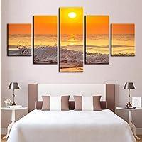 Xbwy プリントポスターウォールアートモジュラーキャンバス写真5パネル風景海の波抽象絵画ホーム背景リビングルームの装飾-20X35Cmx2,20X45Cmx2,20X55Cmx1