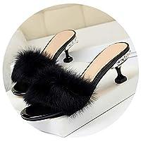 [TanSheen-靴] ファッションエレガントなスリッパスリムラインストーンハイヒールの毛皮のウサギの髪をスリッパ,黒,38