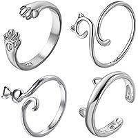 RINHOO FRIENDSHIP 4Pcs Cute Cat Rings Set Silver Plated Pet Open Adjustable Finger Statement Ring for Women Girls