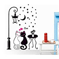 Zbzp 剥がせる 猫愛好家ウォールアートデカールステッカーリムーバブル壁画ホームデコレーションアートホームデコレーションペーパー取り外し可能なステッカービニールウォールステッカー60×33センチ