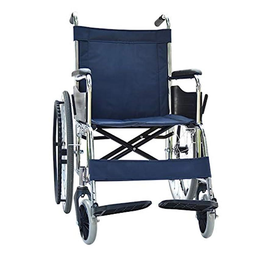 藤色わかりやすいスリム車椅子折りたたみ式、高齢者、障害者用トロリー、調節可能なフットペダル、リアストレージバッグデザイン