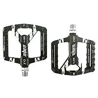 自転車ペダル マウンテンバイクペダル1ペアアルミ合金滑り止め耐久性のあるバイクペダル表面ロードBMX MTBバイク6色(SMS-0.1) ペダル (Color : Black)