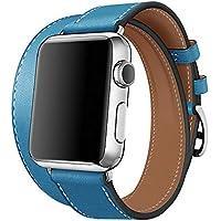 【WAfeel】Apple Watch アップルウォッチ通用バンド ウォッチ交換ベルト 本革レザー使用 全8色 二重巻き型 男女兼用 (42mm, ブルー)