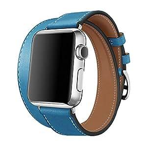【WAfeel】Apple Watch アップルウォッチ通用バンド ウォッチ交換ベルト 本革レザー使用 全8色 二重巻き型 男女兼用 (38mm, ブルー)