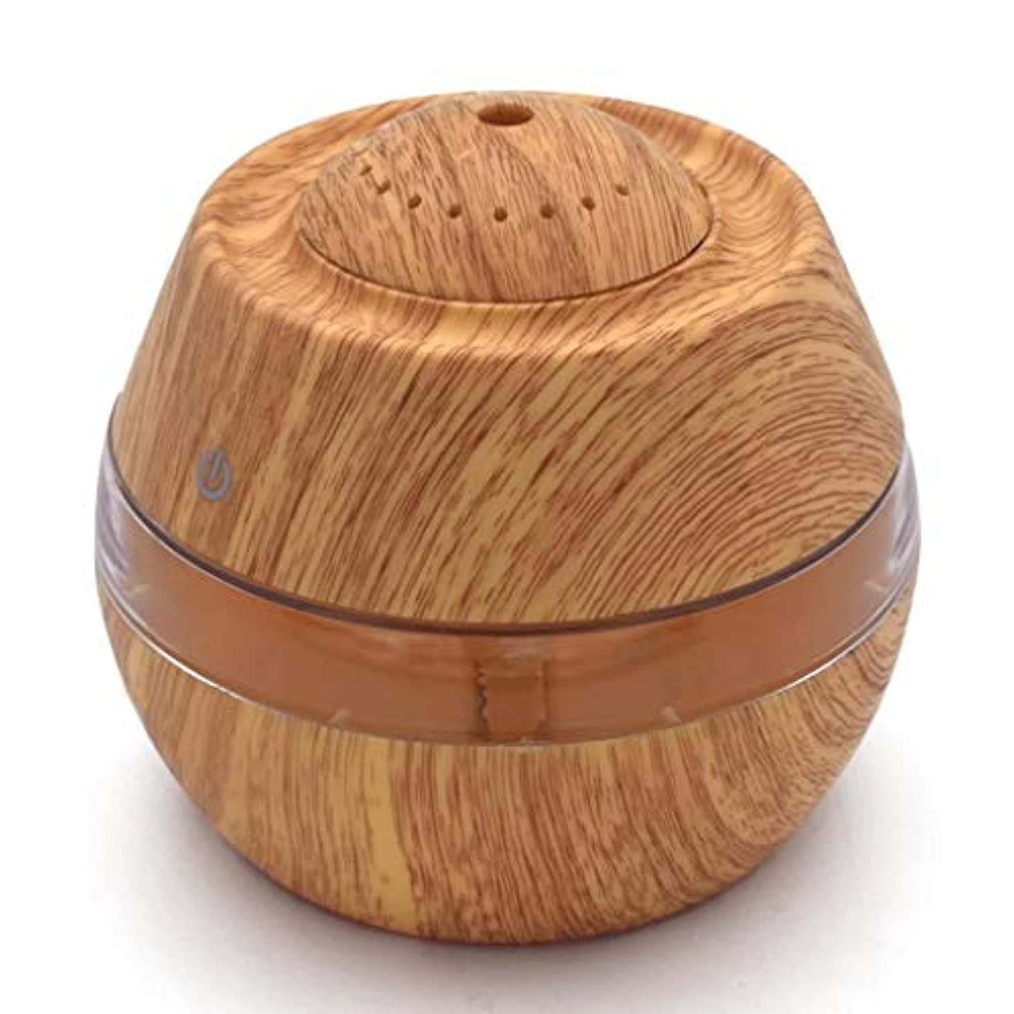 種湿地イタリックオイルディフューザーエッセンシャルオイル300ミリリットルエッセンシャルオイルディフューザー電気超音波加湿器アロマ用ベビールームホームスパギフト用女性 (Color : Light Wood Grain)
