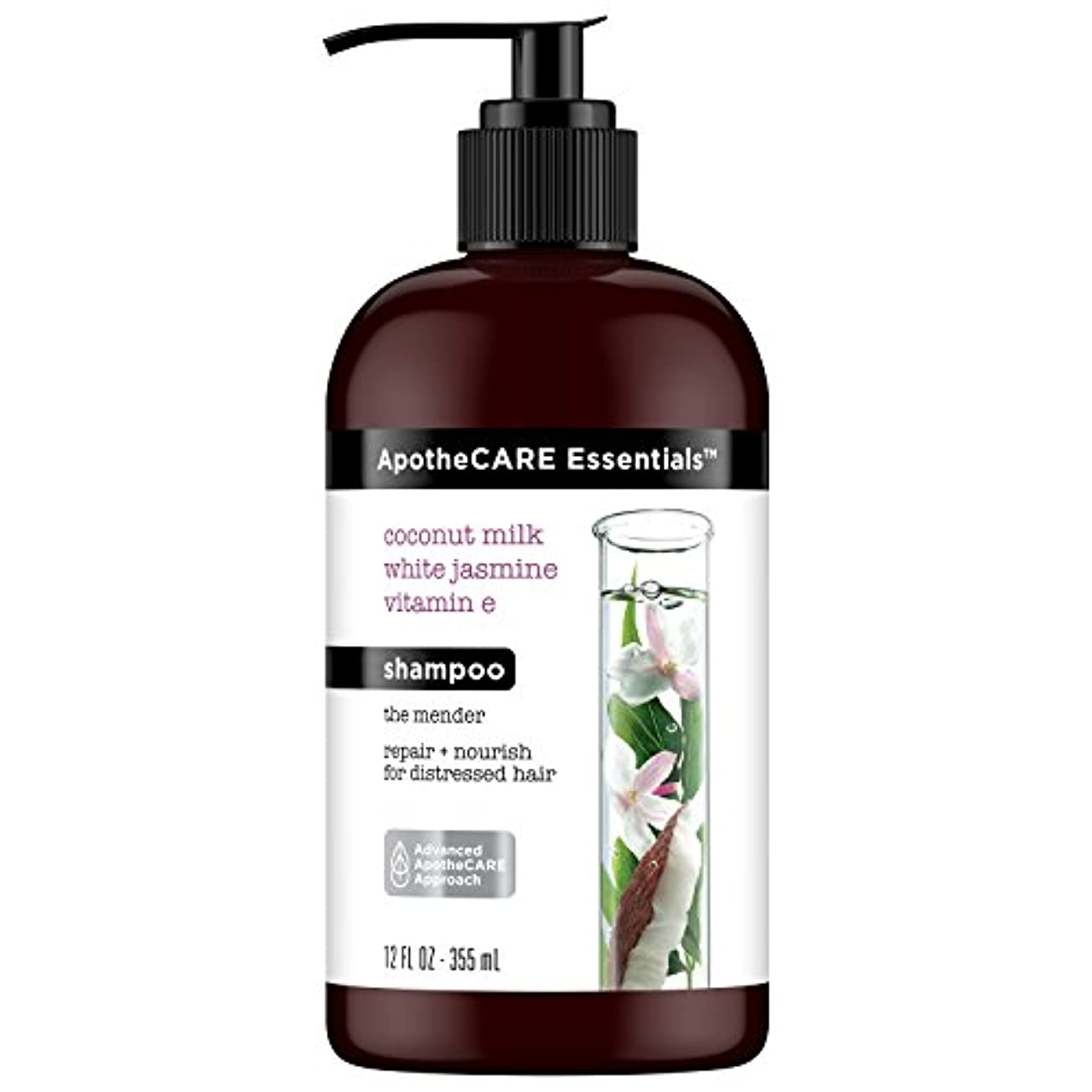 羊の四分円経由でApotheCARE Essentials The Mender Damaged Hair Repair Shampoo, Coconut Milk, White Jasmine, Vitamin E, 12 oz