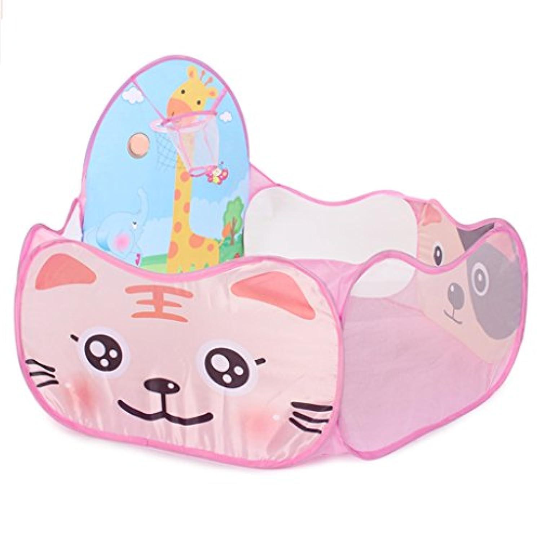 ベビーホームおもちゃの家子供の遊びのフェンスの男の子と女の子の安全活動センター室内撮影のおもちゃの撮影フェンス海のボールプール (Color : B. Pink 2, Size : 60 * 72 * 120cm)
