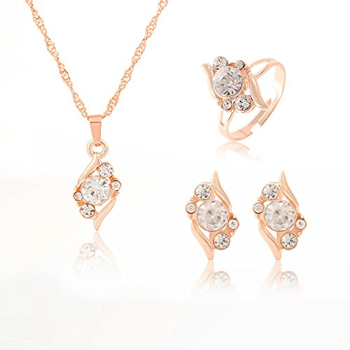[해외]ZOSHI Woman `s Birthday Gift Wedding Jewelry Set Fashion Gold Color Chain Crystal Necklace Ring Earring 3 pcs | set/ZOSHI Woman`s Birthday Gift Wedding Jewelry Set Fashion Gold Color Chain Crystal Necklace Ring Earring 3 pcs | set