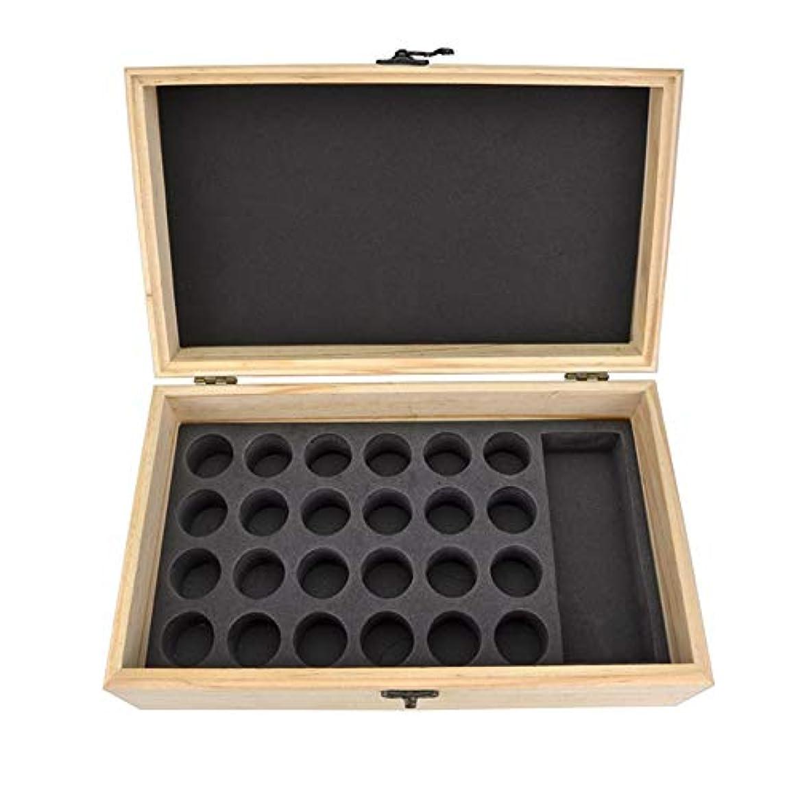 推進、動かす貧しいペックエッセンシャルオイル収納ボックス 25スロット木製エッセンシャルオイル木製ボックスオイルの収納ケースは、25本のボトルナチュラルパインを開催します (色 : Natural, サイズ : 28.8X16.7X10CM)