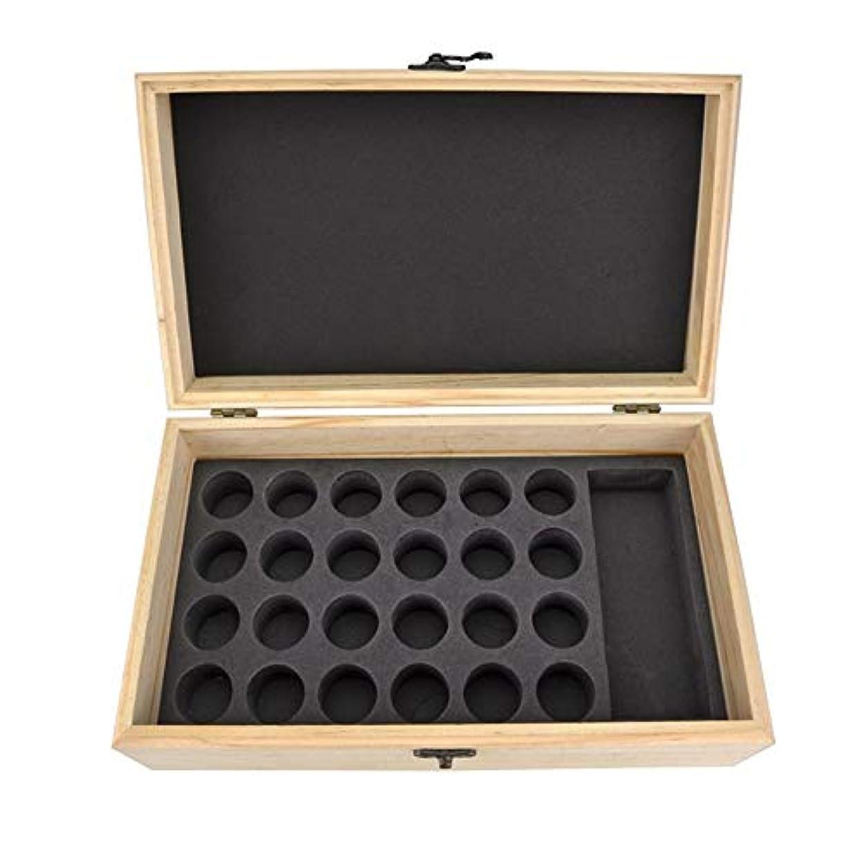 つなぐバウンド認知エッセンシャルオイルの保管 25スロット木製エッセンシャルオイル木箱油収納ケースは、25本のボトルナチュラルパインを開催します (色 : Natural, サイズ : 28.8X16.7X10CM)