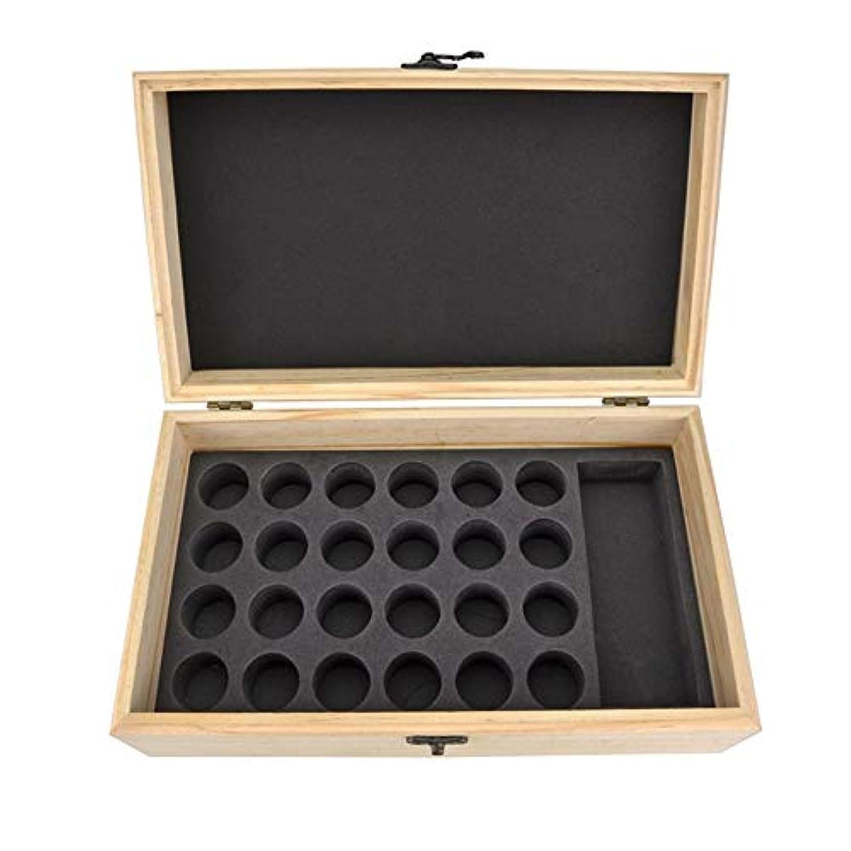 一定留め金添加25スロット木製エッセンシャルオイル木箱油収納ケースは、25本のボトルナチュラルパインを開催します アロマセラピー製品 (色 : Natural, サイズ : 28.8X16.7X10CM)