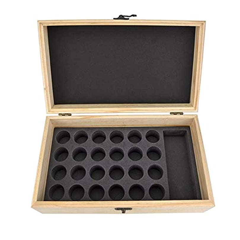 周囲ベール染色エッセンシャルオイル収納ボックス 25スロット木製エッセンシャルオイル木製ボックスオイルの収納ケースは、25本のボトルナチュラルパインを開催します (色 : Natural, サイズ : 28.8X16.7X10CM)
