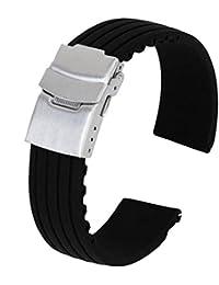 時計バンド 交換ベルトシリコーンゴム 腕時計ストラップ 防水 スキッド (18mm)