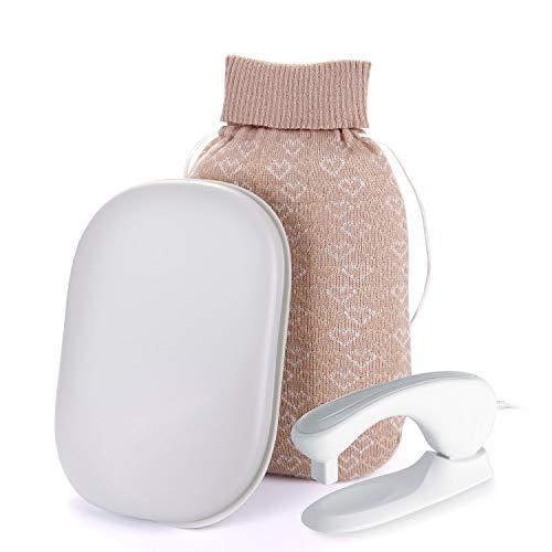 湯たんぽ KOSEDA 充電式 湯タンポ シリコン製 ゴム 柔らかい 水電分離式 お湯たんぽ 日本国内検針済み 蓄熱式 手頃なサイズ、コンパクトで携帯便利 カバー付き 急速加熱 過熱防止 最大温度70℃ やけどを防ぐ布袋あり 保温効果抜群 手足兼用 貼るカイロ より 暖かく 健康にいい 一年間の保証付き(グレー)