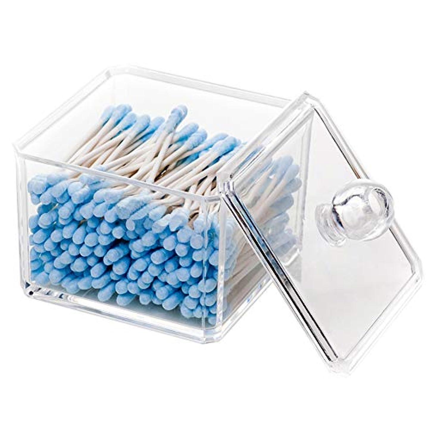 戦いゴミ箱を空にする使役綿棒収納ボックス 綿棒ケース アクリル製 コットンケース 綿棒入れ フタ付き 小物入れ QFENC