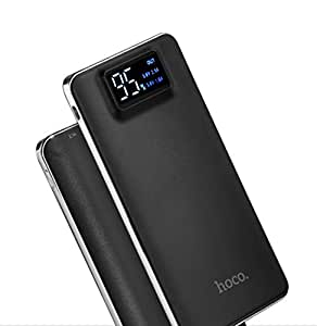 hoco. 10000mAh モバイルバッテリー 軽量 薄型 大容量 USB2ポート 2台同時充電可能 2.1A iphone スマホ 充電器 LEDライト付き ・黒 急速充電器 白/黒 選択可 (ブラック)