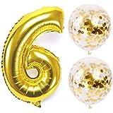 お誕生日パーティー 風船 飾り付け バルーンx2 数字(6)バルーン ゴールドx1 風船セット(QQ-006)