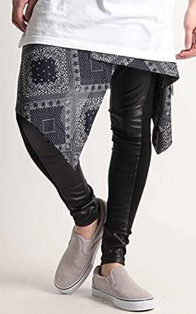 日本製 総柄 デザイン 巻き スカート 国産 バンダナ柄 ペイズリー チェック ストリートモード メンズ G柄